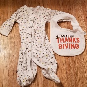 Thanksgiving onesie and bib